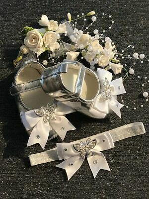 Silver Baby Shoe-Pram Crib First Walkers Soft Sole Shoes-Lace Diamante Butterfly