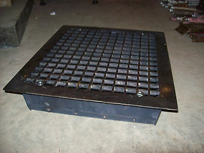 Single cast iron top steel bottom massive heating grate simple squares  (G 122)