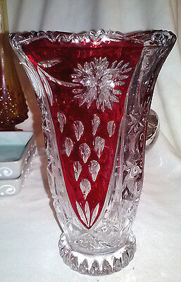 "ANNA HUTTE BLEIKRISTALL 24% LEAD GERMAN RUBY RED & CLEAR CRYSTAL 6"" VASE"