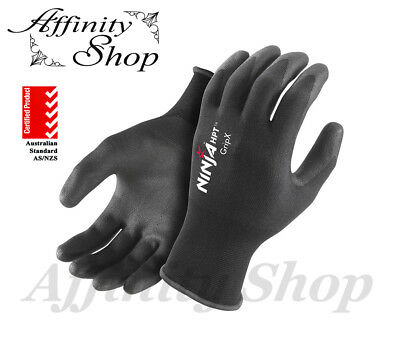 6 Pairs Ninja HPT Work Gloves Any Size Hand Protection P4001 Safety Glove NEW