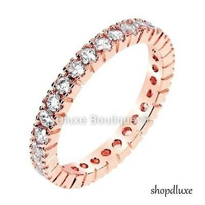 Women's Round Cut Cz Rose Gold Sterling Silver Eternity Wedding Ring Size 4-10