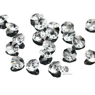 50PCS Clear Crystal Glass Chandelier Part Prism Octagon Beads Wedding Decor 14mm