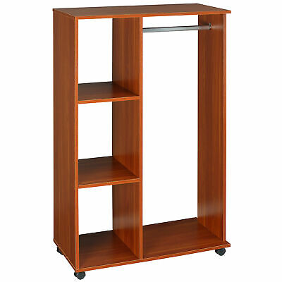 Mobile Open Wardrobe with Clothes Hanging Rail Storage Shelves Organiser Walnut