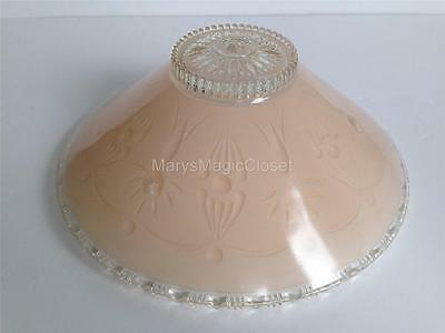 Vintage Heavy Clear and Pink Glass Ceiling Light Fixture Lamp Shade