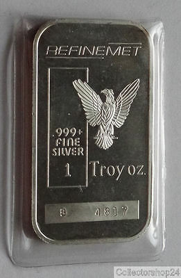 Silver Bar 1 Troy Ounce Silver .999 Refinemat