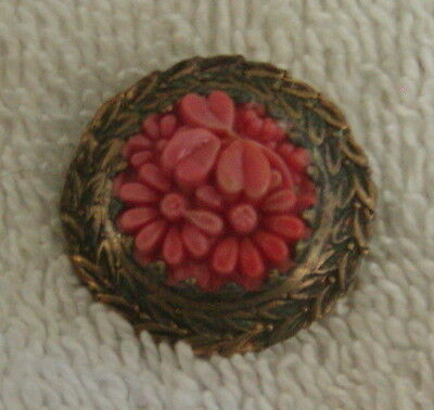 STUNNING Vintage Art Deco Nouveau Coral Flower Small Brooch Pin