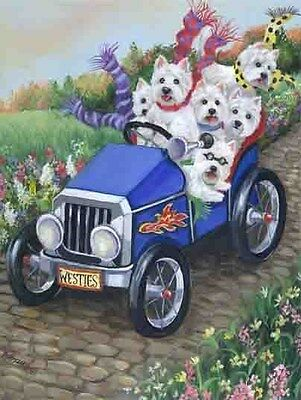 Westie Hot Rod Garden Flag  Free Ship Usa Rescue