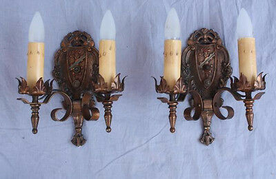 Pair 1920s Sconce Lights Fits Spanish Revival Gothic English Tudor (6810)