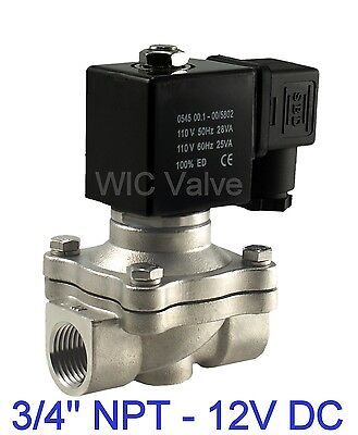 "3/4"" Inch Stainless Electric Air Gas Water Solenoid Valve NC 12V DC Viton Seal"