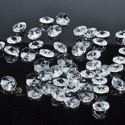 Sparkly 14mm Crystal Faceted Octagon Glass Beads Chandelier Parts Wholesale