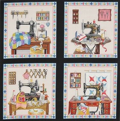 Vintage Sewing Machine Notions Thread Quilts New 4 Quilt Block Squares Panel