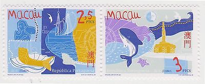 (T1-1) 1998 Macau year of the oceans 2stamps &M/S MUH