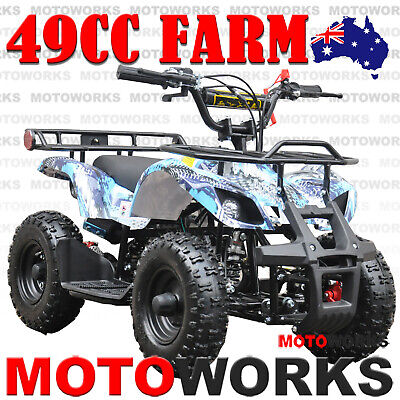 49CC QUAD ATV Bike Motoworks FARM Pocket Gokart 4 Wheeler mini Buggy kids blue 0