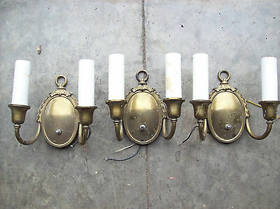 3 matching round back fancy 2 arm sconces (L 547)
