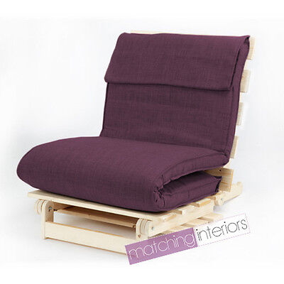 Plum Single 1 Seater Fabric Complete Futon Wood Base & Fold Up Mattress Sofa Bed