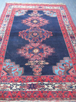 ORIGINAL ANTIQUE CAUCASIAN CARPET RUG  HAND MADE WOOL 250x155-cm/98.4x61.0-inche