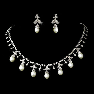 Elegant Silver Crystal White Pearl Bridal Necklace Earring Wedding Jewelry Set