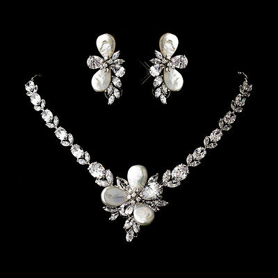 Marquise Crystal Keshi Pearl Bridal Necklace Earring Wedding Jewelry Set