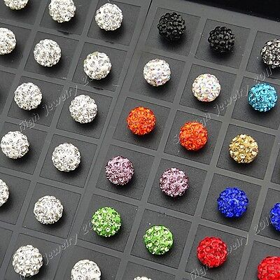 New Wholesale 48p Stainless steel 10m Shamballa Crystal Disco Ball Stud Earrings