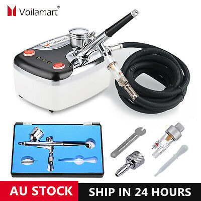 Airbrush Spray Gun Dual Action Air Brush Compressor 7cc Art Painting Hose Kit