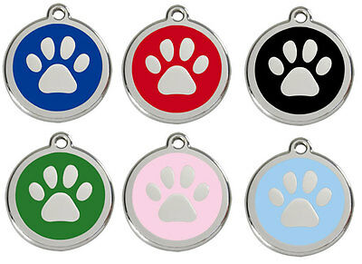Paw Print Engraved Dog ID identity Tags / discs by Red Dingo in 3 sizes (1PP)