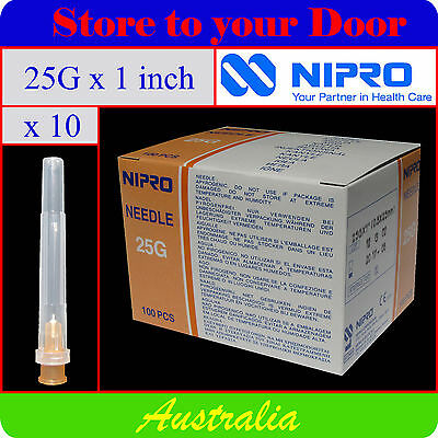 -(10) 25G x 1 Inch Hypodermic Needles / Medical Syringe Needle Tips - Sharps