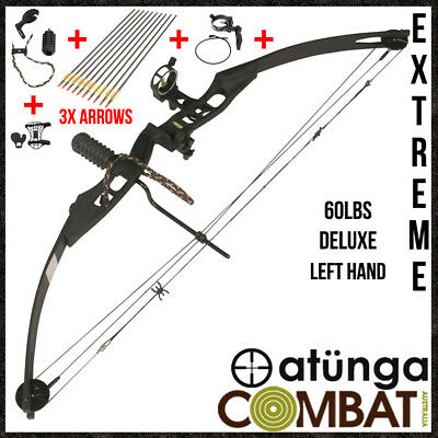 NEW EXTREME Left hand Black 60lbs Compound Bow & Arrow Deluxe Kit Hunting Target