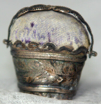 ANTIQUE c1800 ~~ STERLING SILVER BASKET PIN CUSHION ~~ figural