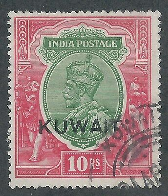 Kuwait 1923 Kgv 10R Single Star Wmk Top Value