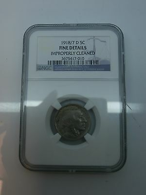 1918/7-D Buffalo 5 Cent Ngc Fine Details Improperly Cleaned