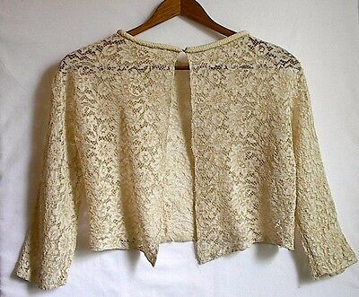 Vintage Cream Crocheted Short Small Ladies Ribbed Collar  Jacket