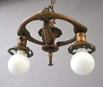 1920s Spanish Revival Art Deco Nouveau 2 Lamp Pendant Chandelier Light (3311)