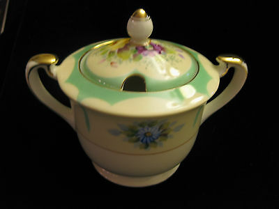 Vintage Floral Sugar Bowl With Lid From Japan