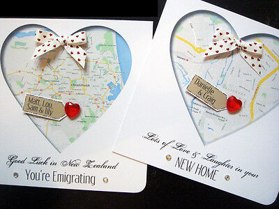 handmade personalised' New home / Emigrating / Engagement MAP cards