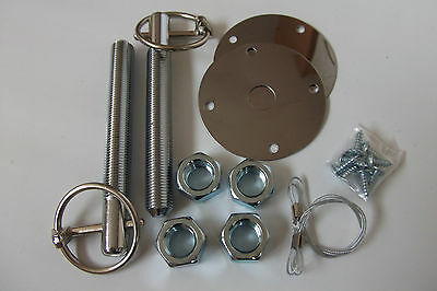 Bonnet  Pin  Set Heavy Duty Chrome Plated Quick Release Car Rally Race
