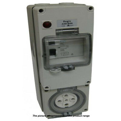 NEW Weatherproof Three 3 Phase 5 Pin 32A RCD Protected Socket Outlet