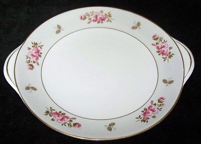 """FINE BONE CHINA SHELLEY RED ROSES W/GOLD HDLD SERVING PLATE 10"""""""