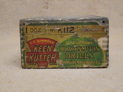 Vintage E C Simmons Keen Kutter Wood Advertising Box for Blacksmith Drills