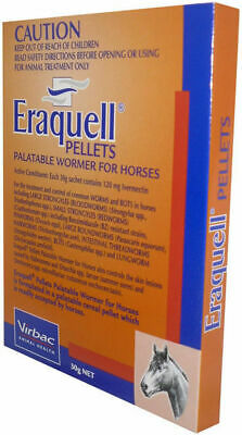 New Wormer Eraquell pellets horse pony Palatable grain based put in feed