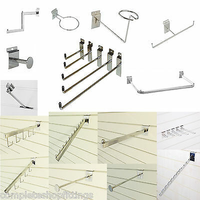 New Chrome Slatwall Display Accessories-Arms,Brackets,Hooks,D Rails For Retail