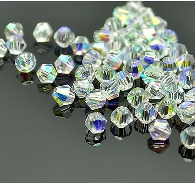 100pcs clear ab Crystal 4mm #5301 Bicone Beads loose beads!
