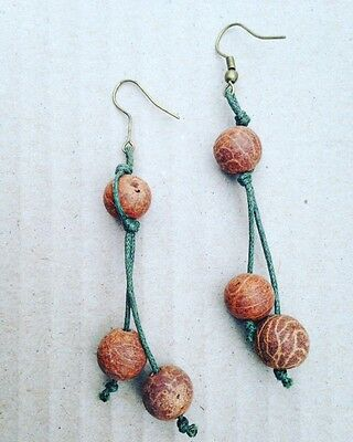 Natural Brown Seeds Hook Earrings on Linen Thread from Peru Fair Trade & Eco