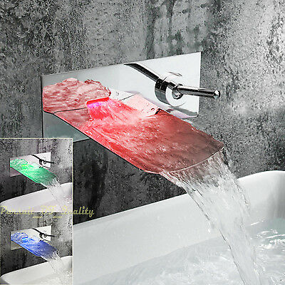 HOT Wall Mount  Single Handle LED Waterfall Bathroom Sink Faucet Color Changing
