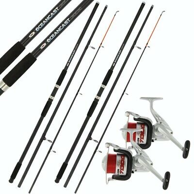 2 X 14ft BEACHCASTER ROD AND REEL SET BEACH CASTER RODS 14ft 20lb LINE ON REELS