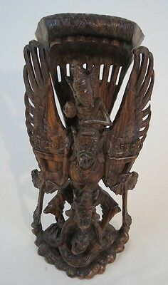 Brazilian Rosewood Carving Of Lord Vishnu Riding Garuda