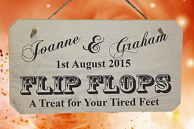 c2a7b071225 PERSONALISED Wedding FLIP FLOP Wooden Sign With your names in White or  Natural.