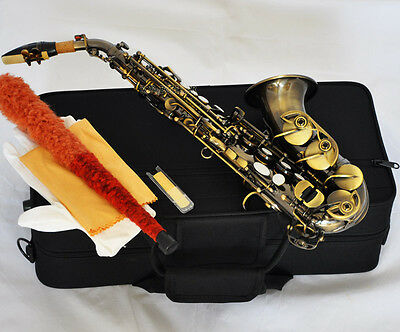 Top New Antique Brass Curved Soprano Saxophone sax Bb Keys High F# With Case
