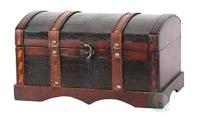 New Vintiquewise Leather Wooden Chest, QI003002