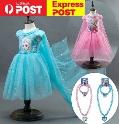 Girls Frozen Elsa Costume Party Birthday Dress With Detachable Cape size 2-10Y