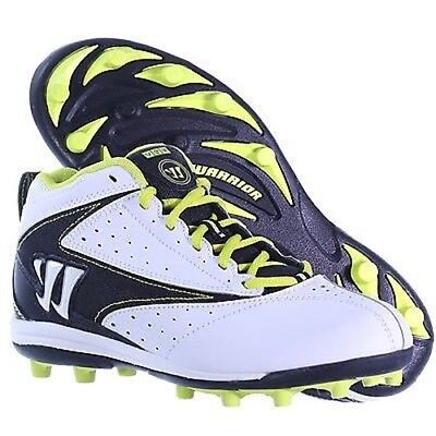 Warrior Vex Lacrosse Mid Height Molded Cleats White Black Yellow Junior 6